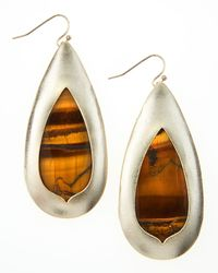 Kendra Scott | Brown Tigers Eye Teardrop Earrings | Lyst