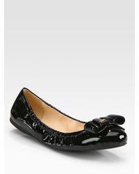 Prada | Black Patent Leather Bow Ballet Flats | Lyst
