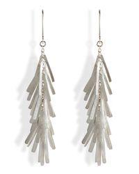 Sia Taylor - Metallic Silver Flutter Leaf Earrings - Lyst