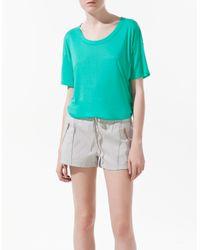 Zara | Blue Open Back T-shirt | Lyst
