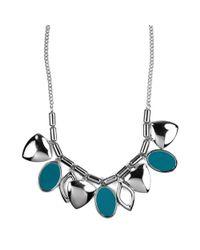 Nine West - Blue Teal Leaf Necklace - Lyst