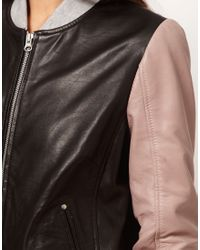 ASOS Collection | Black Asos Contrast Leather Bomber Jacket | Lyst