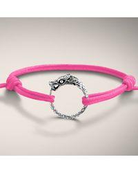 John Hardy | Metallic Dragon Station Bracelet On Adjustable Pink Cotton Cord | Lyst