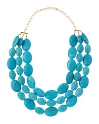 Devon Leigh - Blue Carved Turquoise Multistand Necklace - Lyst