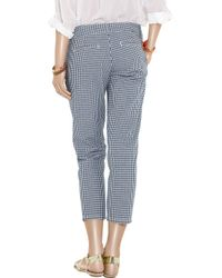 J.Crew - Blue Gingham Cropped Cotton Pants - Lyst