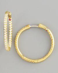 Roberto Coin | Metallic Pave Diamond Hoop Earrings | Lyst
