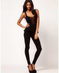 ASOS Collection - Black Unitard with Peplum - Lyst
