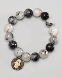 Sydney Evan | Black Diamond Hamsa Charm Beaded Bracelet  | Lyst