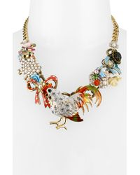 Betsey Johnson | Metallic Farmhouse Rooster Charm Necklace | Lyst