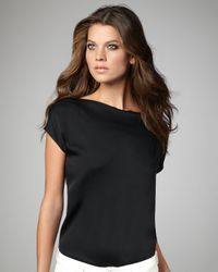 VINCE | Black Silk Boat-neck Tee | Lyst