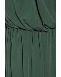 Halston - Green Ruched Silk-jersey One-shoulder Dress - Lyst