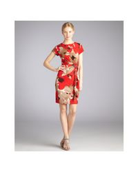 Ellen Tracy - Red Blossom Print Jersey Knot Side Dress - Lyst