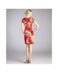 Ellen Tracy - Red Blossom Print Jersey Knot Side Dress - Lyst