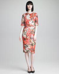 Erdem | Orange Sequined Floralprint Dress | Lyst