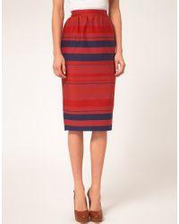 ASOS Collection   Blue Stripe Midi Skirt   Lyst