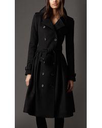 Burberry | Black Full Skirt Virgin Wool and Cashmere Coat | Lyst