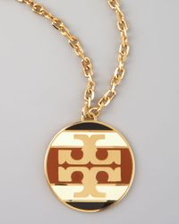 Tory Burch | Brown Striped Logo Pendant Necklace  | Lyst