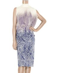 Clements Ribeiro | Purple Printed Silk Dress | Lyst