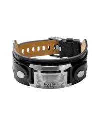 Fossil | Stainless Steel Black Leather Bracelet for Men | Lyst