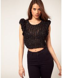 ASOS Collection | Black Asos Cropped Top With Textured Floral | Lyst