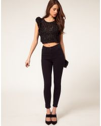 ASOS Collection - Black Asos Cropped Top With Textured Floral - Lyst