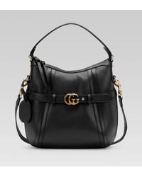 b0bf90bf7ce Gucci Gg Running Medium Hobo with Double G Detail in Black - Lyst