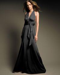 Halston - Black Long Halter Gown - Lyst