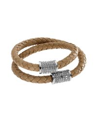 Michael Kors | Silver Tone Natural Braided Leather Double Wrap Bracelet | Lyst