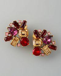 Oscar de la Renta | Red Crystal Cluster Clip Earrings | Lyst
