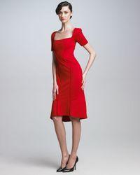 Zac Posen | Red Square Neck Dress | Lyst