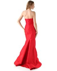 Zac Posen | Red Strapless Gown Sweetheart | Lyst