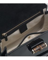 Gucci - Black New Bamboo Patent Leather Top Handle Bag - Lyst