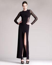 Michael Kors   Black Lace Inset Sideslit Gown   Lyst