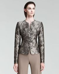 Armani - Gray Collarless Jacquard Jacket - Lyst