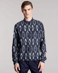 Burberry Prorsum - Blue Ikat-print Sport Shirt for Men - Lyst