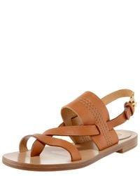 Chloé - Brown Flat Slingback Thong Sandal - Lyst