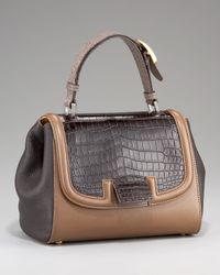 Fendi - Brown Silvana Croc & Stingray Bag - Lyst