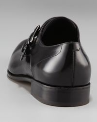 Ferragamo | Black Cipro Monk-strap Loafer for Men | Lyst