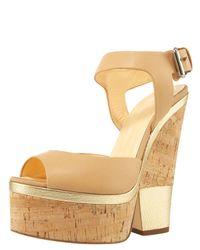 Giuseppe Zanotti | Natural Ankle-wrap Cork-wedge Sandal | Lyst