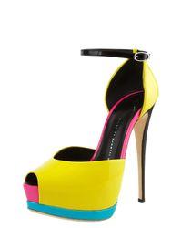 Giuseppe Zanotti | Yellow Neon Colorblock Platform Dorsay | Lyst