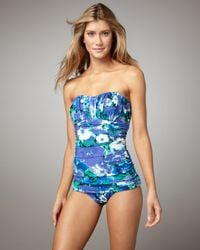 Gottex | Blue Mimosa Floral-Print Ruched Swimsuit | Lyst