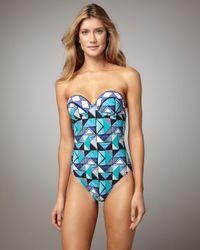 Gottex - Blue Virginia Geometric-Print Bandeau Swimsuit - Lyst