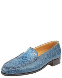 Gravati - Blue Croc-embossed Loafer - Lyst