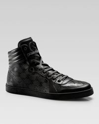 Gucci | Black Hi-top Interlocking-g Sneaker for Men | Lyst