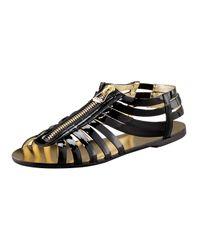Jimmy Choo | Black Patent Zip Cage Flat Sandal | Lyst
