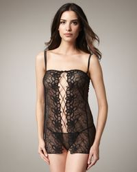 La Perla - Black Studio Embroidered Lace-up Babydoll and Thong Set - Lyst