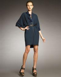 Lanvin | Blue Front-zip Cocoon Dress | Lyst