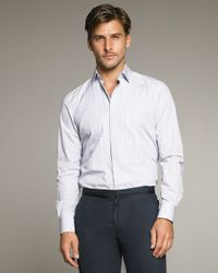 Lanvin - Blue Pleated Shirt for Men - Lyst