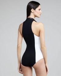 Lisa Marie Fernandez - Black Daphne Colorblock Zip-up One-piece Swimsuit - Lyst