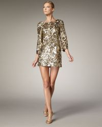 Marchesa | Metallic Sequined Shift Dress | Lyst